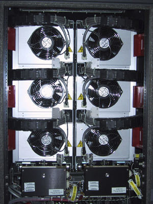 Fans in the back of server tower.